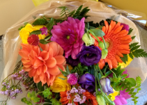 colorful loose wrapped bouquet