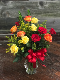 Colorful Love Dozen Roses