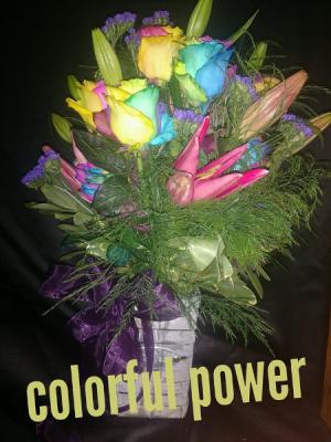 colorful power rainbow rose arrangement in Sentinel, OK | JJ GIFT SHOP