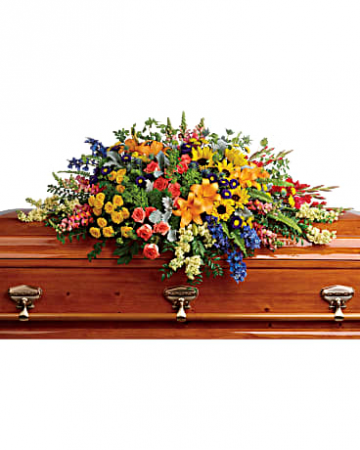 Colorful Reflections Casket Spray Funeral Flowers