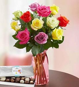 Colorful Roses in clear vase Large vase