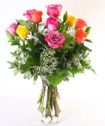 colorful roses vase arrangement