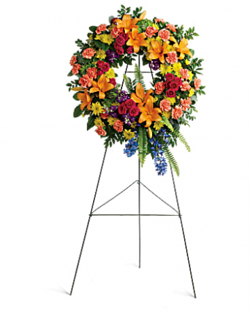 Colorful Serenity  Funeral Wreath