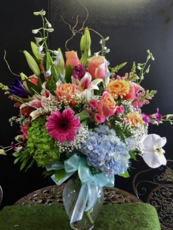 Colorful tall mixed bouquet