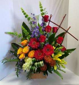 Colorful Tribute Sympathy Arrangement in Webster, TX |  La Mariposa Flowers