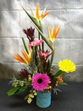 Colorful Tropical Vased Arrangement