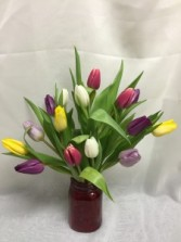 Colorful Tulips Vase arrangement