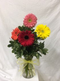 Colorful Vibes 6 Gerbera Daisies (mixed colors) arranged in a clear glass vase with greenery