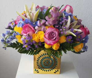 Colorful Wishes Birthday Arrangement in Miami, FL | FLOWERTOPIA