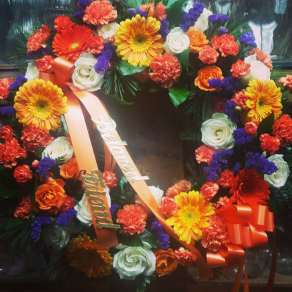 colorful wreath tribute  standing wreath
