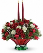 EXCLUSIVELY AT FLOWERS TODAY FLORIST Colors of Christmas Holiday Centerpiece