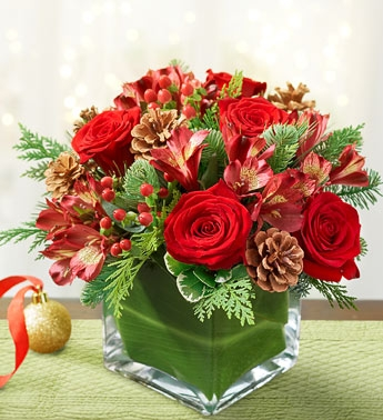 Colors of Christmas Glass Cube Arrangement