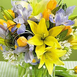 Colors of Easter vase arrangement in Lebanon, NH | LEBANON GARDEN OF EDEN FLORAL SHOP
