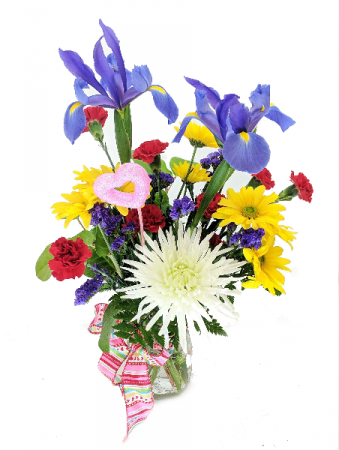 Colors of Love Mason Jar Flower Arrangement