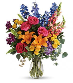 Colors of the Rainbow Bouquet Vase Arrangement in La Plata, MD | Potomac Floral Design Studio