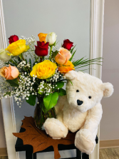 colourful roses with bear Flower Arrangement