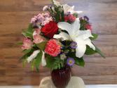 Colourful Valentine  Vased Fresh Flowers