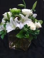 Compact arrangement White & Greens  (flowers and colors may vary)