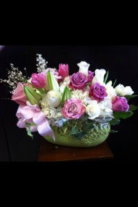 Compact rose, hydrangea, tulips and lily bouquet