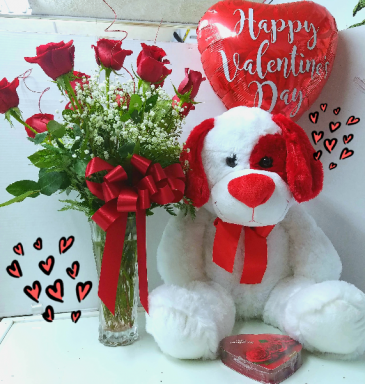 Completely in Love with You Package.  1 Dozen Roses, Large Plush Animal, Mylar Balloon and small box of chocolates