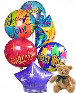 Graduate Balloon Bouquet with Bear and Chocolates