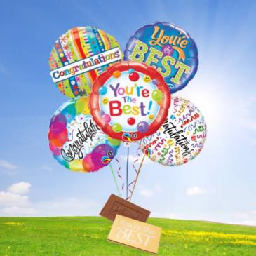 Congratulations Balloon Bouquet-DeBrand candy bar