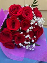 ROSES loose bouquet of a doz red roses
