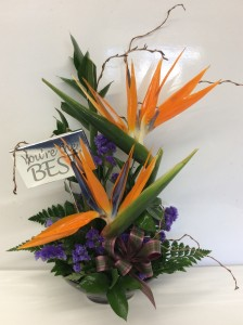 Contemporary Birds of Paradise with chocolate bar