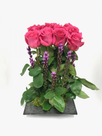 Contemporary Dozen Rose Arrangement