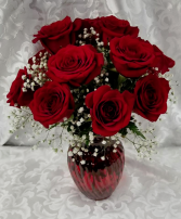 Contemporary Love Vase with Roses 15' High