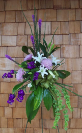 contemporary purples standing spray