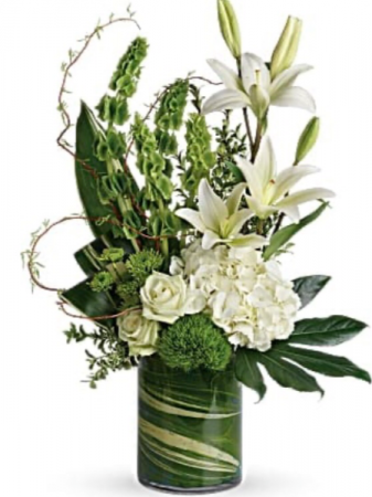 Contemporary White and Green Flowers  Vase