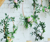 Contemporary Wreaths Backdrop  Reception Flowers
