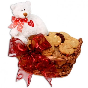 Cookies And Brownies Basket U0026 Teddy Bear Valentineu0027s Day Treat