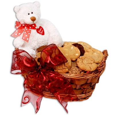 Cookies and Brownies Basket & Teddy Bear Valentine's Day ...