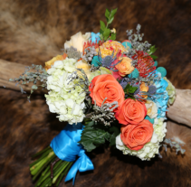 Cool Blue and Living Coral  Bridal Bouquet