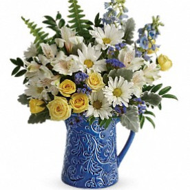 COOL BLUE BLOOMS PITCHER Keepsake ceramic in Leominster, MA | DODO'S PHLOWERS