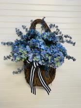Cool Blue Hydrangea Artificial Door Basket