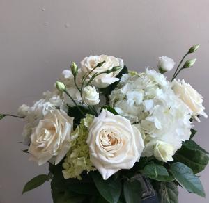 Cool Summer Whites Vase Arrangement in Northport, NY | Hengstenberg's Florist