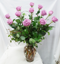 """Cool Water"" Lavender Dozen Roses Fresh Floral Design"