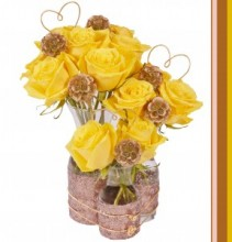 Copper Sequin Triple Vase  Romantic Floral Design
