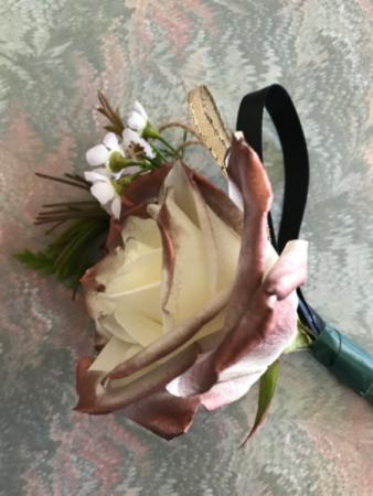 Copper Tip Rose Boutonniere Wedding Boutonniere