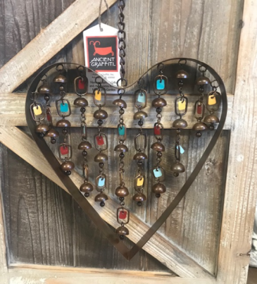 Copper Wind Chime Heart With Dangles