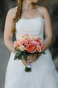 Coral and Peach Bridal Bouquet Hand-Tied Bridal Bouquet