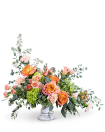 Coral Compote Flower Arrangement