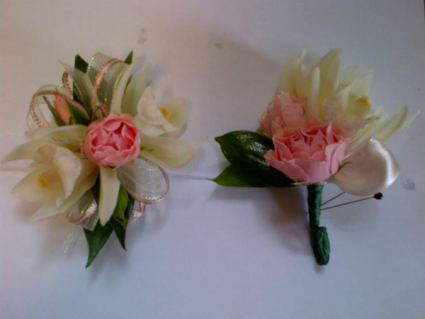 Coral Cool Corsage and Boutonniere Prom