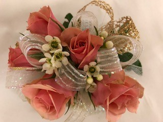 Roses and Wax Flower Corsage