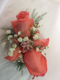 CORAL CRYSTAL WRIST CORSAGE