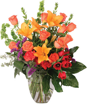 Coral Extravagance Flower Arrangement in Ozone Park, NY | Heavenly Florist
