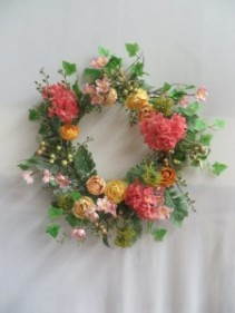 Coral Hydrangea Silk Wreath 5 Silk Wreath